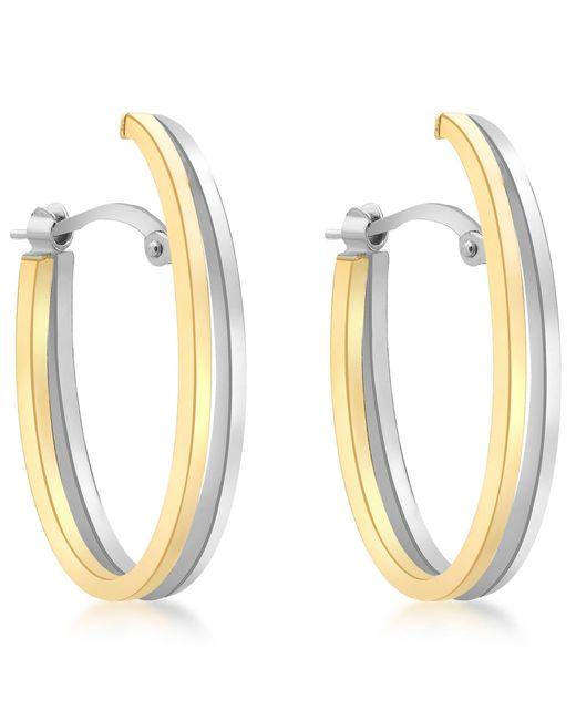 Ib&b - Metallic 9ct Gold Two Tone Double Oval Huggy Earrings - Lyst