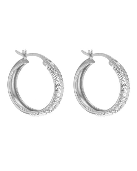 Ib&b - 9ct White Gold Diamond Cut Creole Earrings - Lyst