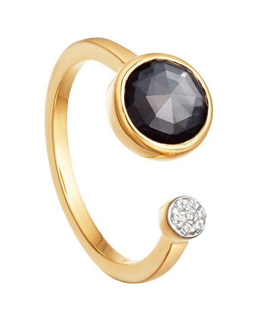 Missoma - Metallic 18ct Gold Vermeil Double Orbit Hematite And Zircon Pave Ring - Lyst
