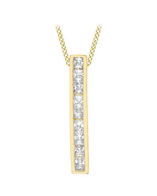 Ib&b | Metallic 9ct Gold Cubic Zirconia Bar Drop Slider Pendant | Lyst