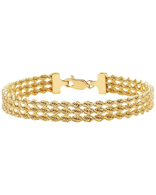 Ib&b | Metallic 9ct Gold Hollow 3 Strand Rope Bracelet | Lyst