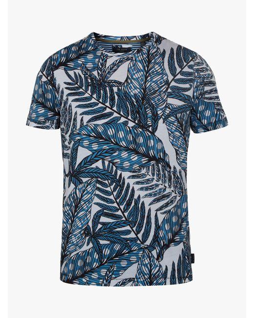 Ted Baker - Blue Rice Leaf Printed T-shirt for Men - Lyst