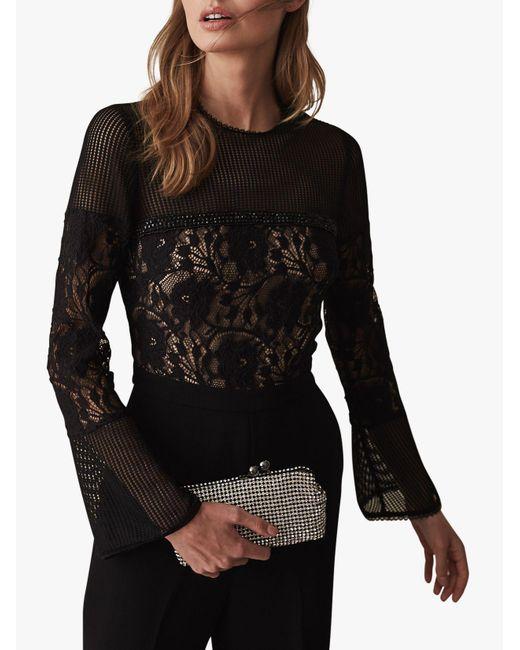 Reiss - Black Marion Lace Embellished Jumpsuit - Lyst