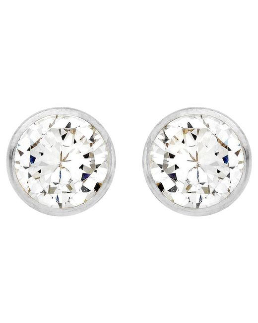Ib&b - Metallic 9ct White Gold Round Cubic Zirconia Stud Earrings - Lyst