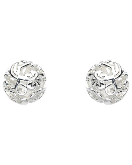 Kit Heath - Metallic Sterling Silver Carved Ball Stud Earrings - Lyst