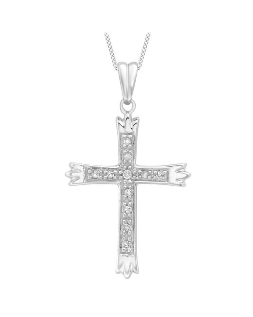 Ib&b - Metallic 9ct White Gold Cubic Zirconia Cross Pendant - Lyst