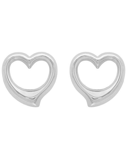Ib&b - 9ct White Gold Heart Stud Earrings - Lyst