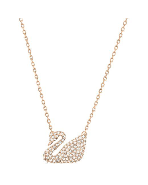 Swarovski - Metallic Swan Crystal Pendant Necklace - Lyst