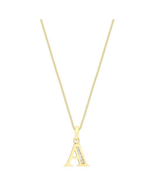 Ib&b - Metallic 9ct Gold Cubic Zirconia Initial Pendant Necklace - Lyst