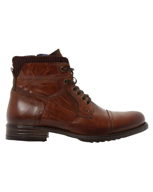 Dune - Brown Calabash Padded Cuff Leather Lace Boots for Men - Lyst