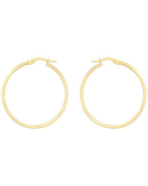 Ib&b - 18ct Yellow Gold Rectangular Tube Creole Earrings - Lyst