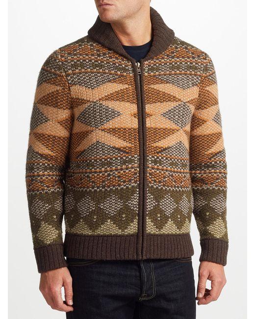 John Lewis   Multicolor Aztec Knit Full Zip Cardigan for Men   Lyst