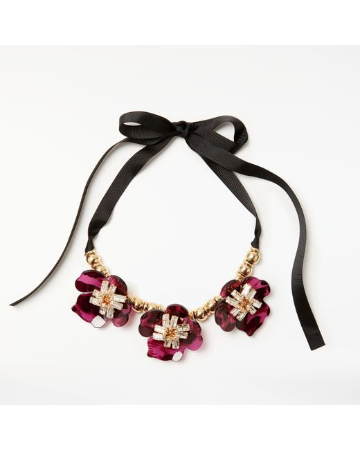 John Lewis   Black Gemstones Abstract Flower Glass Necklace   Lyst