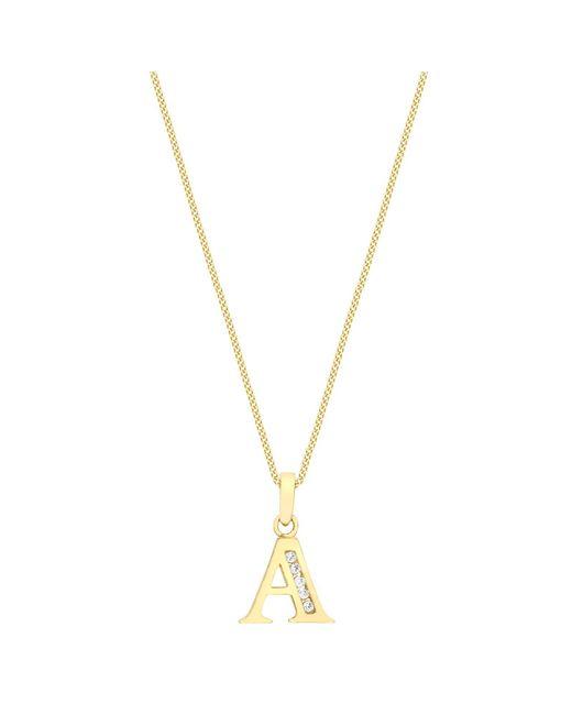 Ib&b | Metallic 9ct Gold Cubic Zirconia Initial Pendant Necklace | Lyst
