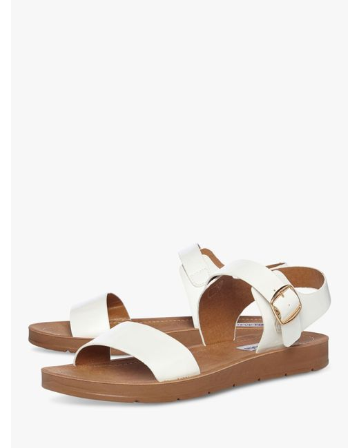 6411a36be5c ... Steve Madden - White Probable Two Part Flat Sandals - Lyst ...