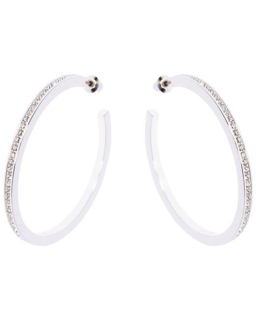 Karen Millen   Metallic Encrusted Large Hoop Earrings   Lyst