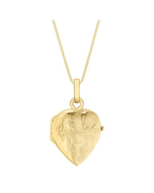 Ib&b - Red 9ct Gold Flower Heart Locket Pendant Necklace - Lyst