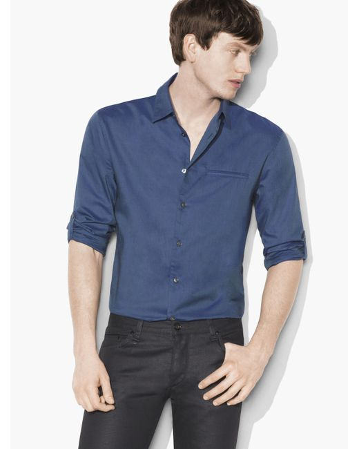 John Varvatos | Blue Slim Fit Shirt for Men | Lyst