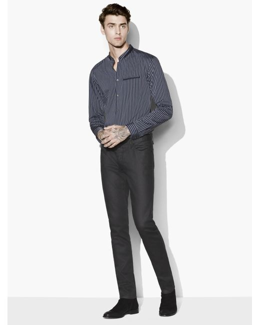John Varvatos | Blue Slim Fit Shirt With Double Layered Stand Collar for Men | Lyst