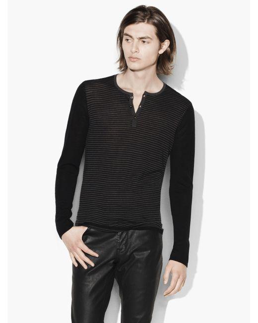 John Varvatos   Black Lightweight Henley Sweater for Men   Lyst