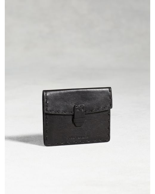 John Varvatos | Black Leather Card Case With Coin Pouch for Men | Lyst