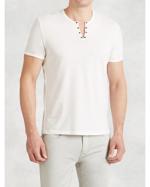 John Varvatos | White Cotton Eyelet Crewneck for Men | Lyst