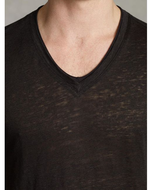 John Varvatos | Black Jersey Trim Short Sleeve V-neck for Men | Lyst