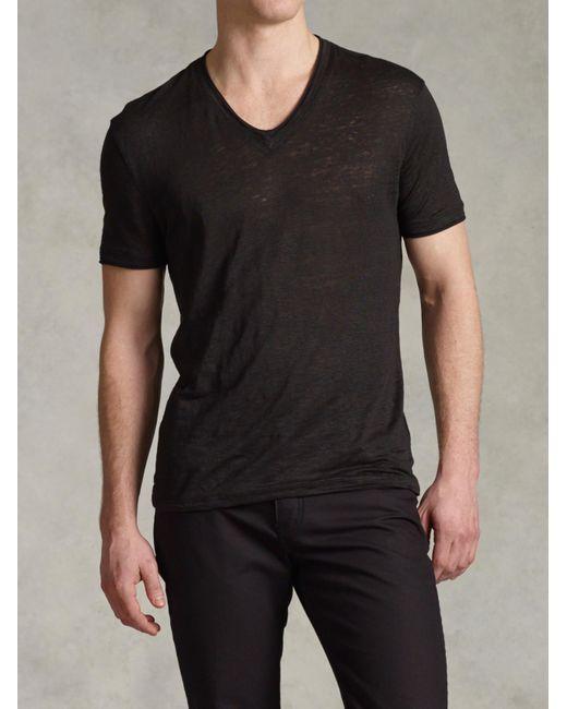 John Varvatos | Black Jersey Trim Short Sleeve V-neck for Men | Lyst