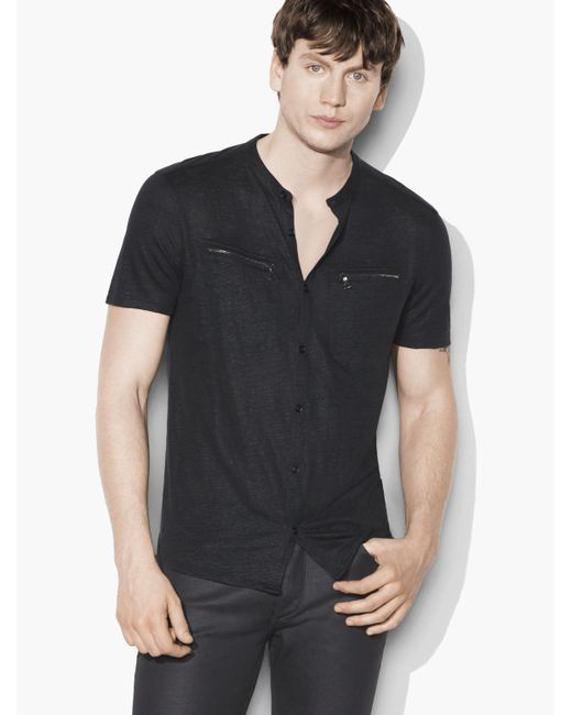 John Varvatos | Black Linen Button Front Shirt for Men | Lyst