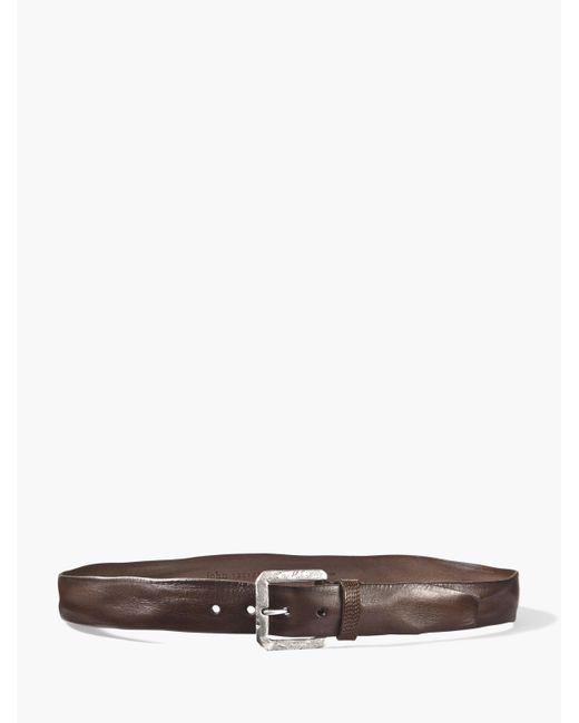 John Varvatos | Brown Stitch Detailed Leather Belt for Men | Lyst