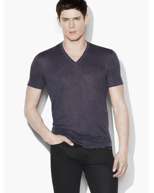 John Varvatos | Blue Linen V-neck for Men | Lyst