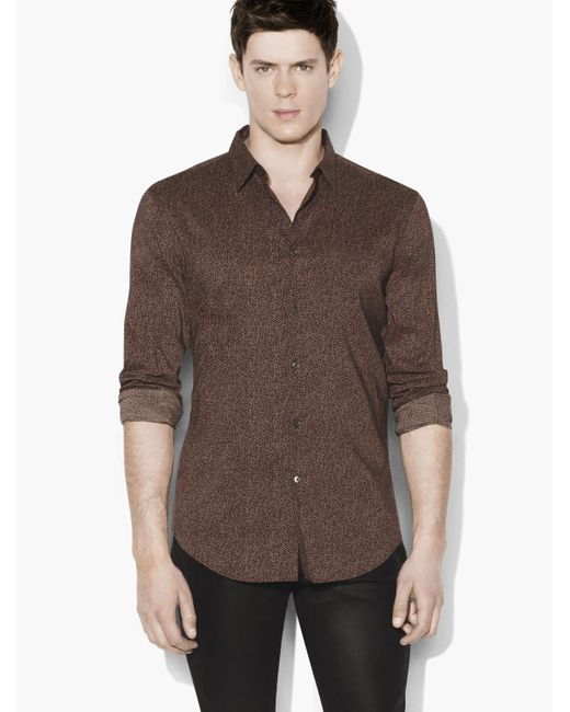 John Varvatos | Brown Slim Fit Sport Shirt With Adjustable Sleeves for Men | Lyst