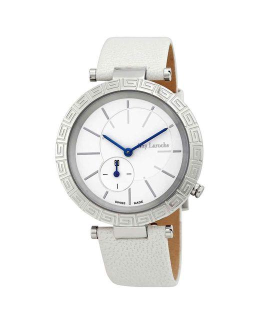 Guy Laroche Metallic White Dial Small Seconds Ladies Watch -02
