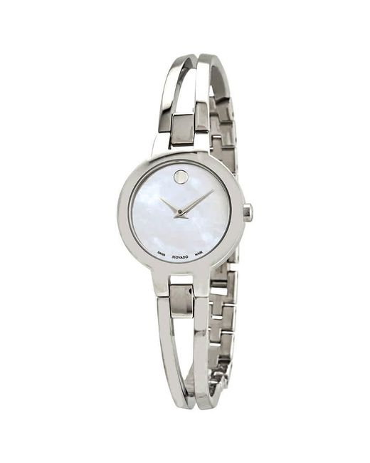Movado Metallic Amorosa Mother Of Pearl Dial Stainless Steel Ladies Watch