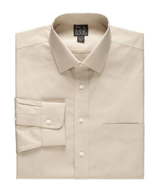 Jos a bank traveller collection slim fit spread collar for Spread collar dress shirt without tie