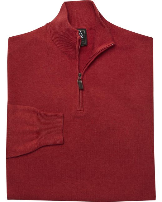 Jos. A. Bank | Red Signature Pima Cotton Quarter-zip Sweater Big And Tall for Men | Lyst