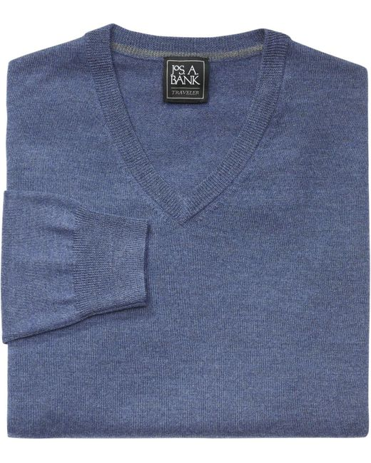 Jos. A. Bank | Blue Traveler Collection Merino Wool V-neck Sweater- Big & Tall for Men | Lyst