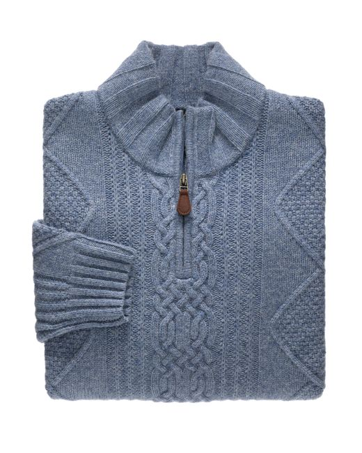 Jos. A. Bank | Blue Executive Collection Lambswool Quarter-zip Cable Sweater for Men | Lyst