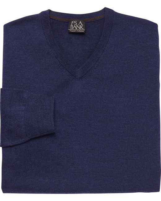 Jos. A. Bank   Blue Traveler Merino V Neck Sweater Big And Tall for Men   Lyst
