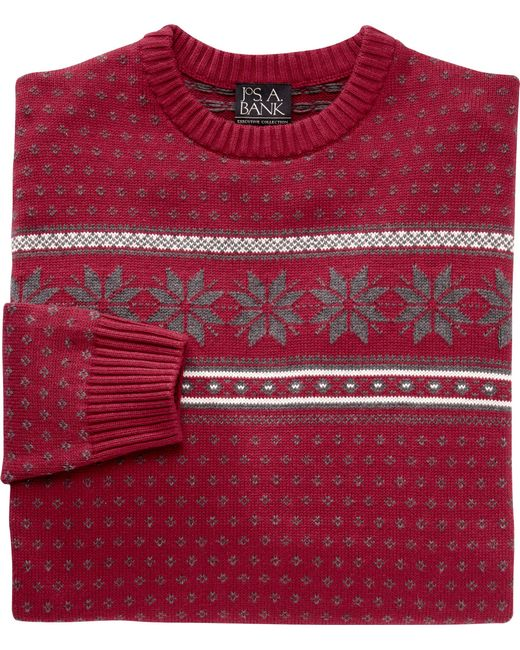 Jos. A. Bank | Red Executive Collection Cotton Crewneck Sweater for Men | Lyst