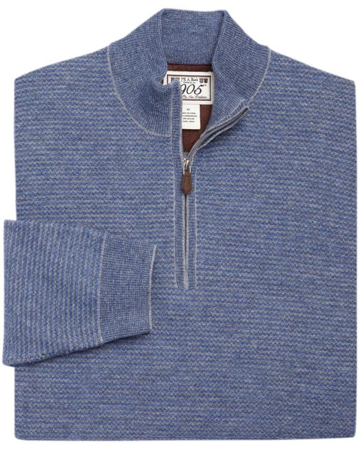 Jos. A. Bank | Gray 1905 Collection Lambswool Stripe Quarter-zip Sweater for Men | Lyst