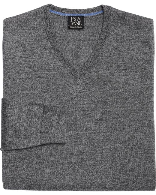 Jos. A. Bank | Gray Traveler Collection Merino Wool V-neck Sweater - Big & Tall for Men | Lyst