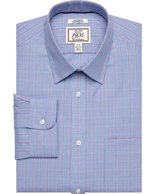 Jos a bank 1905 tailored fit dress shirt in blue for men for Joseph banks dress shirts