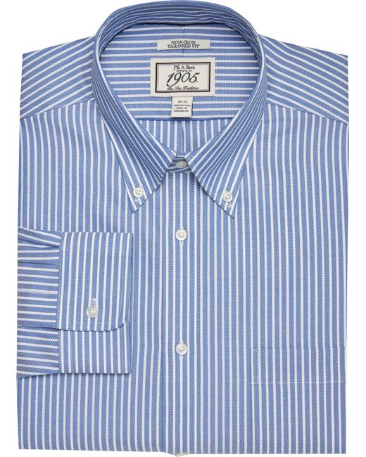 Jos a bank 1905 collection tailored fit button down for Jos a bank tailored fit vs slim fit shirts
