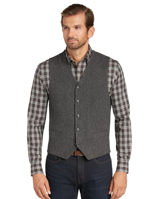 Lyst jos a bank 1905 tailored fit herringbone pattern for Jos a bank tailored fit vs slim fit shirts