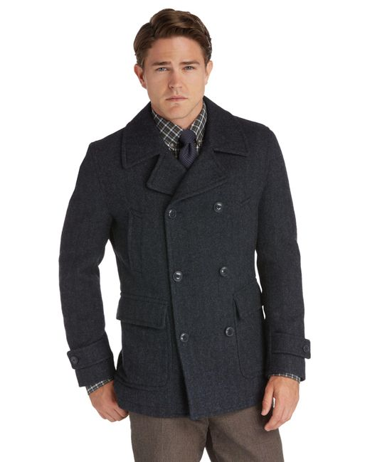 Jos. A. Bank - Blue 1905 Collection Traditional Fit Double-breasted Herringbone Peacoat for Men - Lyst