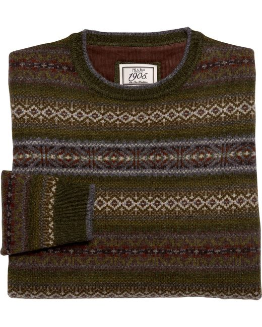 Jos. a. bank 1905 Collection Fair Isle Sweater in Green for Men ...