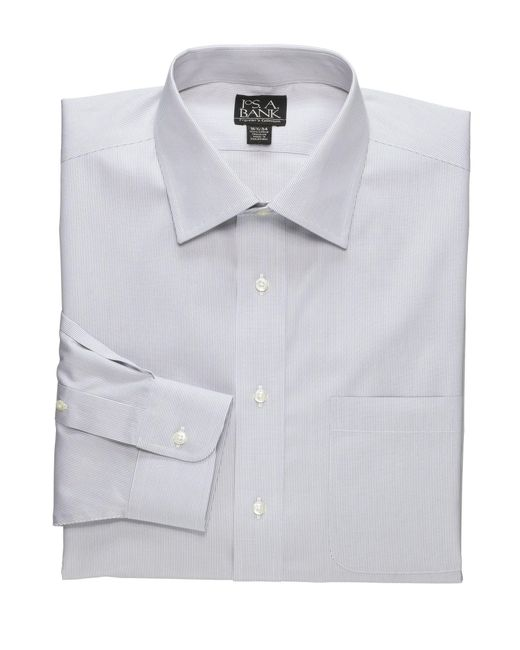 Jos. A. Bank | Gray Traveler Collection Traditional Fit Spread Collar Fine Line Dress Shirt - Big & Tall for Men | Lyst