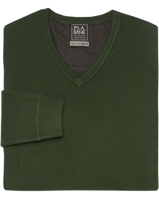 Jos. A. Bank | Green Travel Tech Collection V-neck Merino Wool-blend Sweater for Men | Lyst