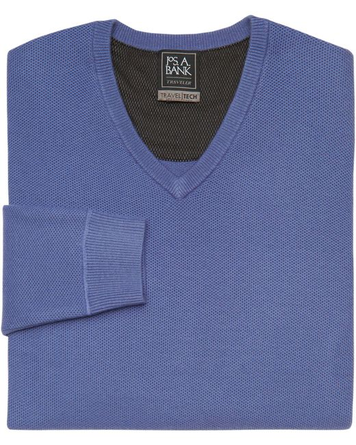 Jos. A. Bank | Blue Travel Tech Collection V-neck Merino Wool-blend Sweater for Men | Lyst
